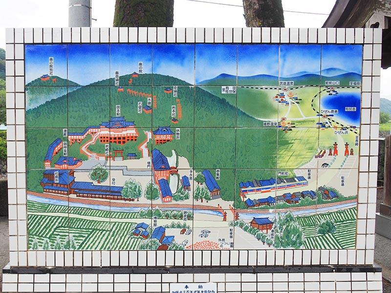 祐德稻荷神社境內地圖,以陶瓷做成相當特別
