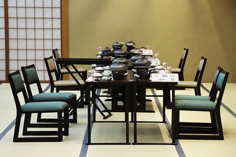 三朝館晚餐用餐時的餐廳
