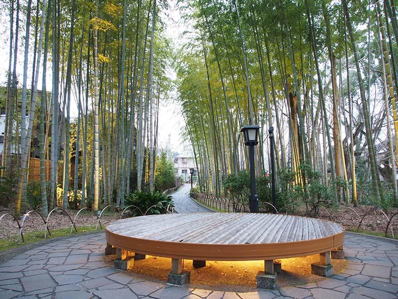 竹林小徑中心的圓形木板平台