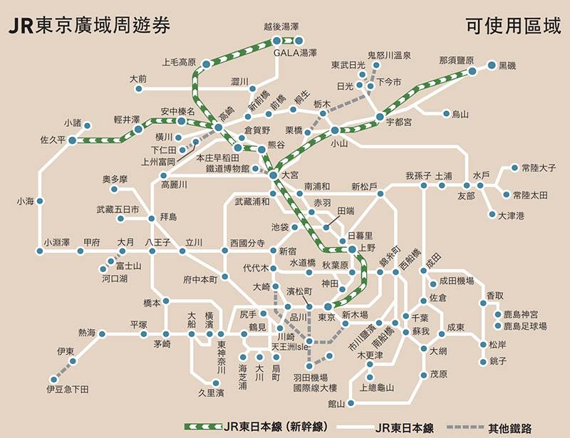 JR東京廣域周遊券路線圖