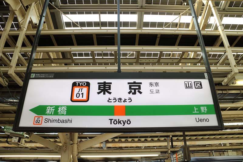 「東京站」的標示