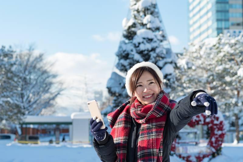 冬天前往北海道札幌的觀光客