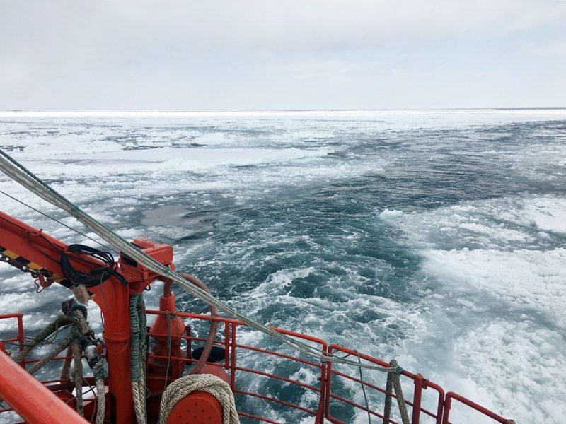 在甲板可清楚聽見流冰撞擊聲