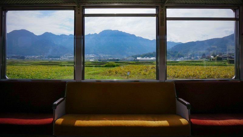 別所線的車窗田園風景