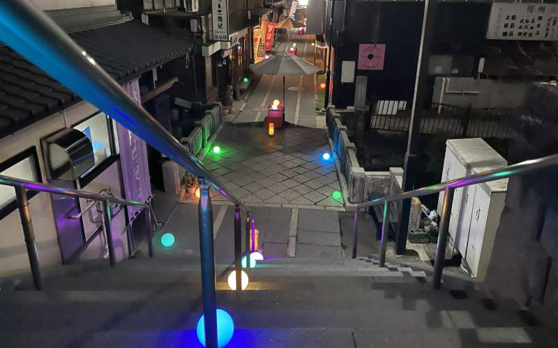 夜晚的別所溫泉街與點燈