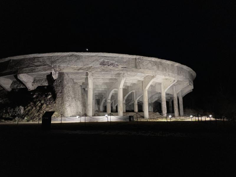北澤浮遊選礦場跡夜晚點燈景色