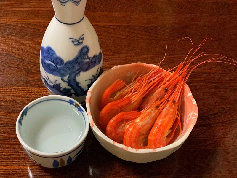 日本酒和大蝦