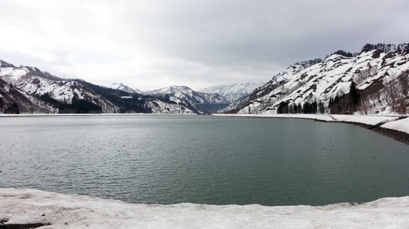 只見町冬天的田子倉湖