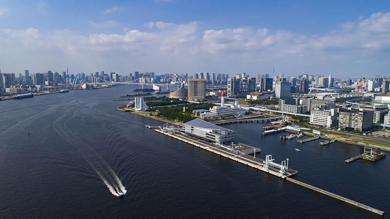 從空中俯瞰的東京國際郵輪碼頭
